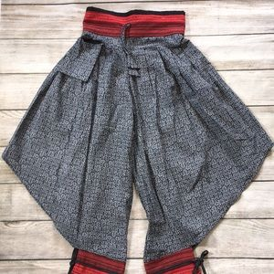 Cotton Haram Pants India Ethnic Tribal Red Black S